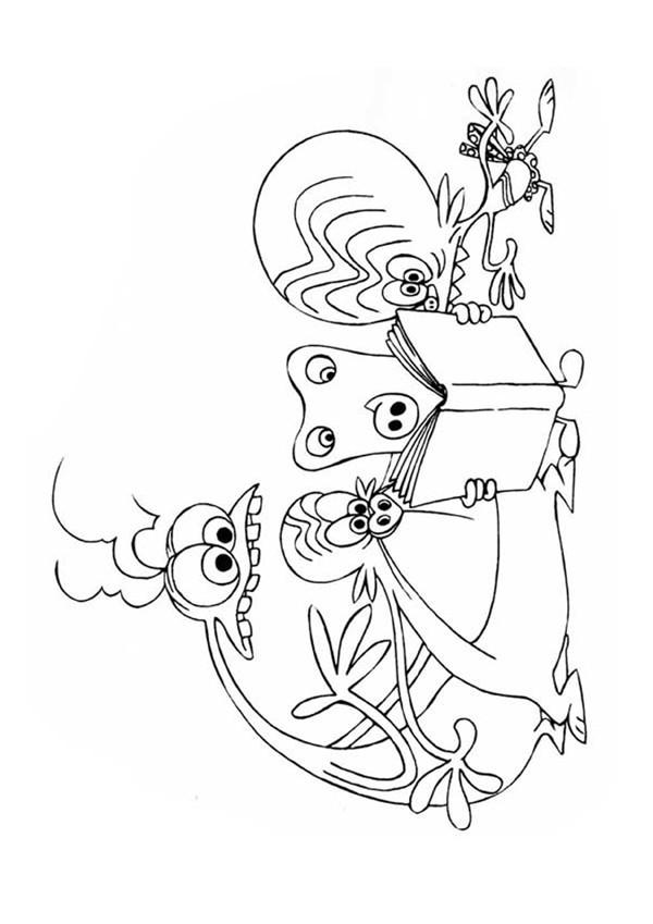 Coloriage et dessins gratuits Zinzin se regroupent devant un livre à imprimer
