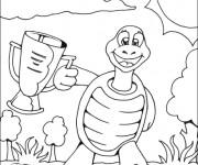 Coloriage et dessins gratuit La tortue et le trophé à imprimer