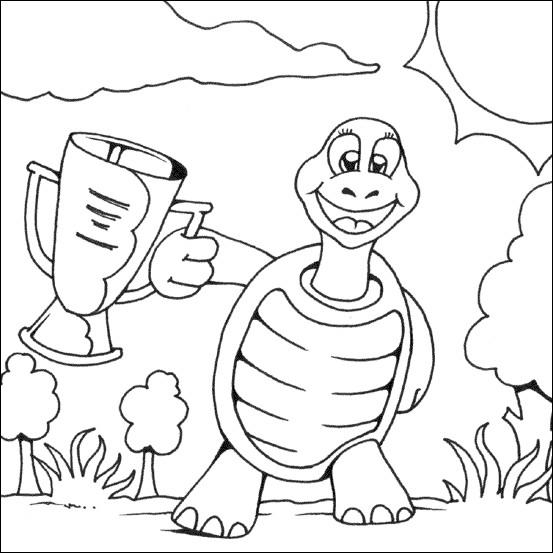 Coloriage et dessins gratuits La tortue et le trophé à imprimer