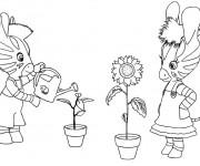 Coloriage Les zouzous arrosent les fleurs
