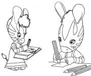 Coloriage et dessins gratuit Les Zouzous font leurs devoirs à imprimer
