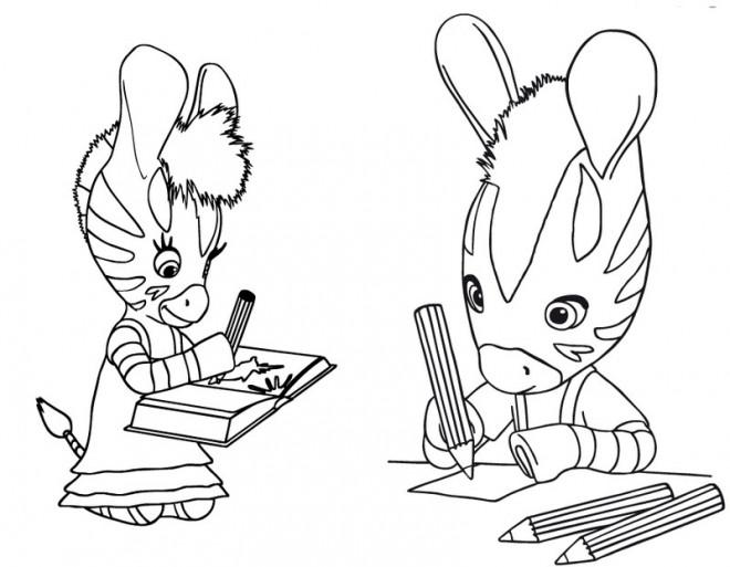 Coloriage et dessins gratuits Les Zouzous font leurs devoirs à imprimer