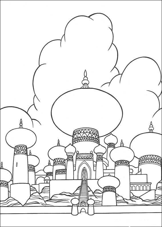 Coloriage et dessins gratuits Aladdin et le palais du Sultan à imprimer