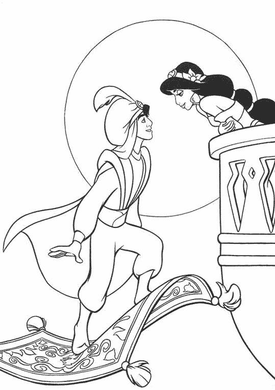 Coloriage et dessins gratuits Aladdin et Jasmine amoureux à imprimer