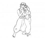 Coloriage Aladdin et Jasmine s'aiment