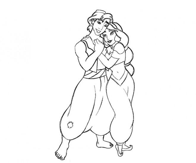 Coloriage Aladdin Et Jasmine Saiment Dessin Gratuit à Imprimer