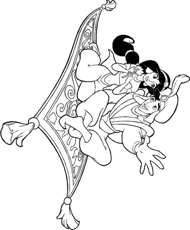 Coloriage Aladdin Et Jasmine Sur Le Tapis Volant Dessin