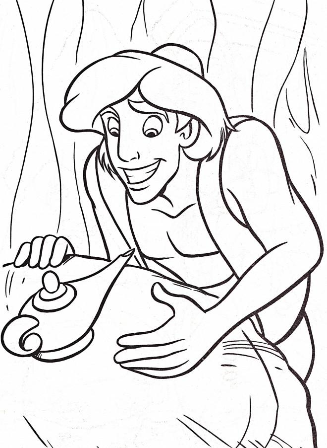 Coloriage et dessins gratuits Aladdin et la lampe magique à imprimer