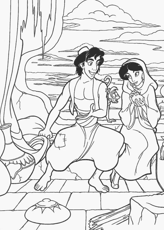 Coloriage et dessins gratuits Aladdin le voleur et Jasmine à imprimer