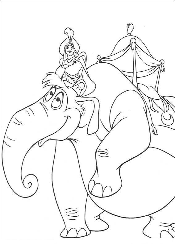 Coloriage et dessins gratuits Aladdin sur son éléphant à imprimer