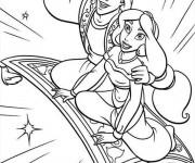Coloriage Dessin animé Aladdin et Jasmine