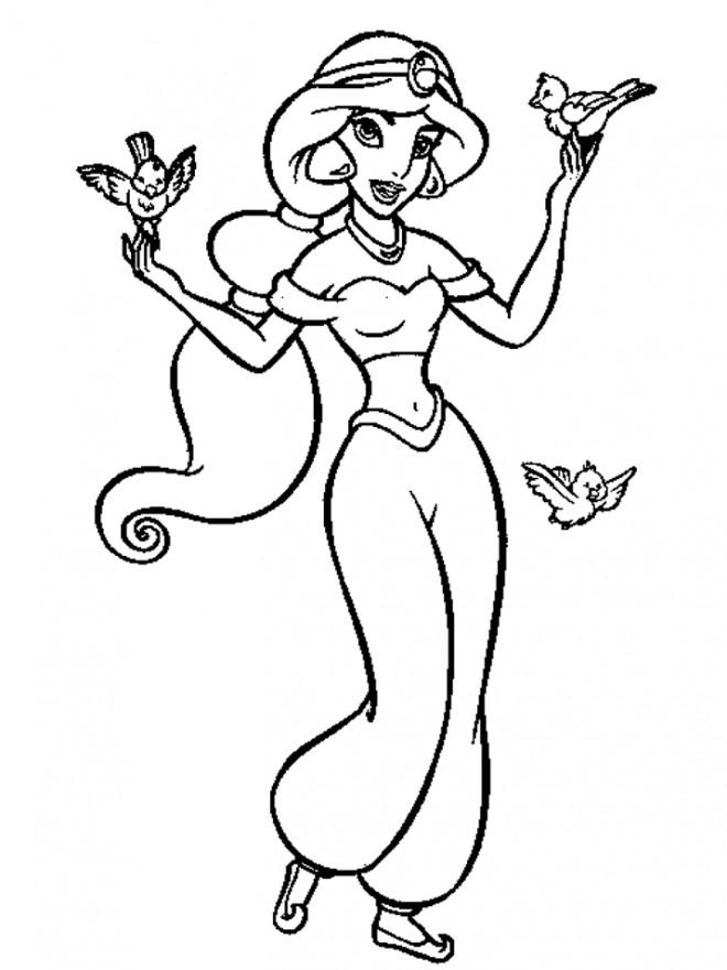 Coloriage et dessins gratuits Jasmine et les oiseaux à imprimer