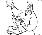 Coloriage Le génie d'Aladdin en pleine lecture