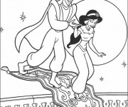 Coloriage Prince Aladdin et Jasmine