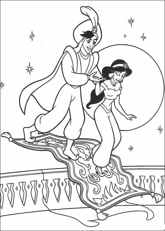 Coloriage et dessins gratuits Prince Aladdin et Jasmine à imprimer