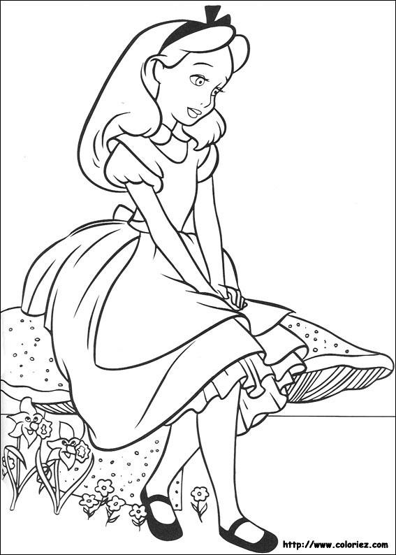 Coloriage et dessins gratuits Alice assise sur un champignon à imprimer