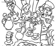 Coloriage Alice au pays des merveilles assise à table