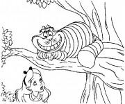 Coloriage et dessins gratuit Alice au pays des merveilles avec Chat de Chester à imprimer
