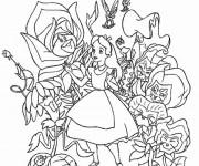 Coloriage Alice au pays des merveilles avec les fleurs