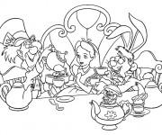 Coloriage Alice au pays des merveilles boit du thé