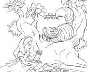 Coloriage Alice au pays des merveilles boit du thé avec le chat