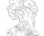 Coloriage Alice au pays des merveilles  endormie
