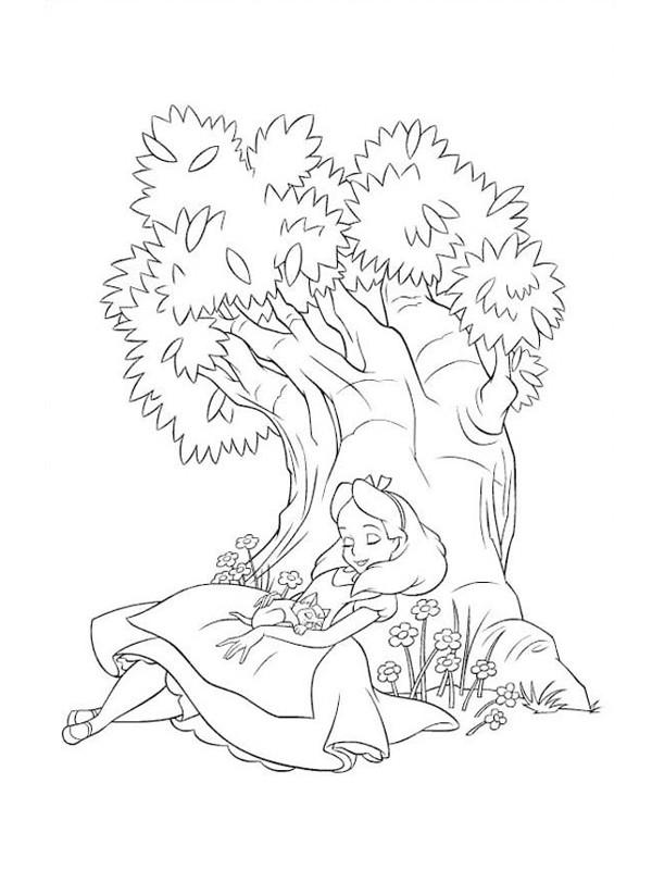 Coloriage et dessins gratuits Alice au pays des merveilles  endormie à imprimer