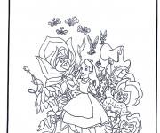 Coloriage Alice au pays des merveilles entouré des fleurs