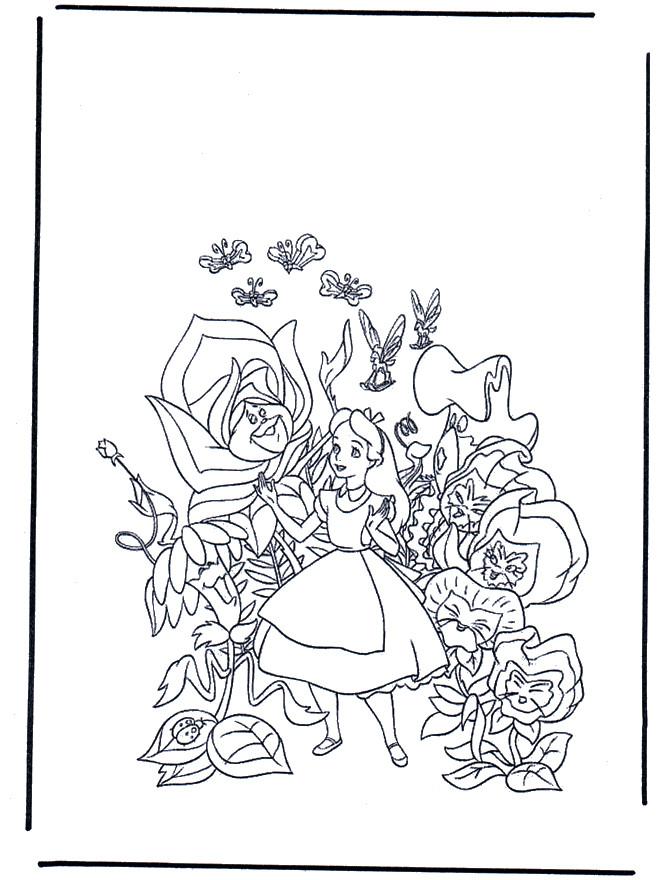 Coloriage et dessins gratuits Alice au pays des merveilles entouré des fleurs à imprimer