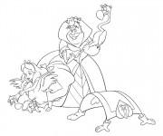 Coloriage Alice au pays des merveilles et la reine