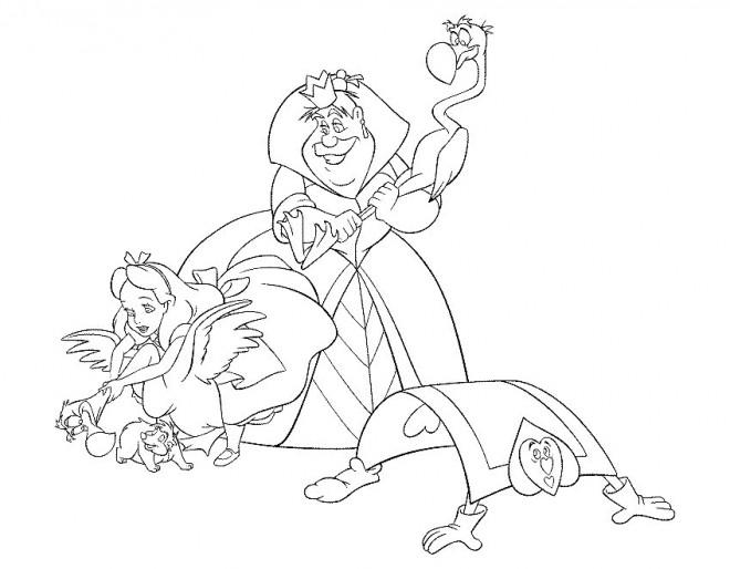 Coloriage et dessins gratuits Alice au pays des merveilles et la reine à imprimer
