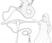 Coloriage et dessins gratuit Alice au pays des merveilles facile à imprimer