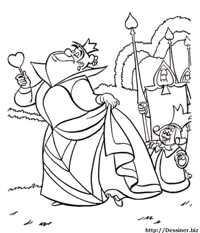 Coloriage et dessins gratuits Alice au pays des merveilles: La reine de coeur à imprimer
