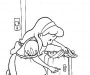 Coloriage Alice au pays des merveilles ouvre la porte