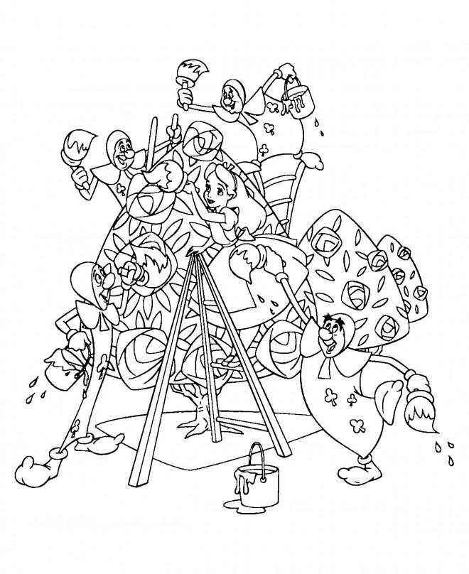 Coloriage et dessins gratuits Alice au pays des merveilles peint avec les cartes peintres à imprimer