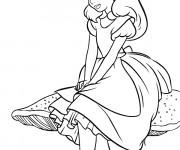 Coloriage Alice au pays des merveilles pense