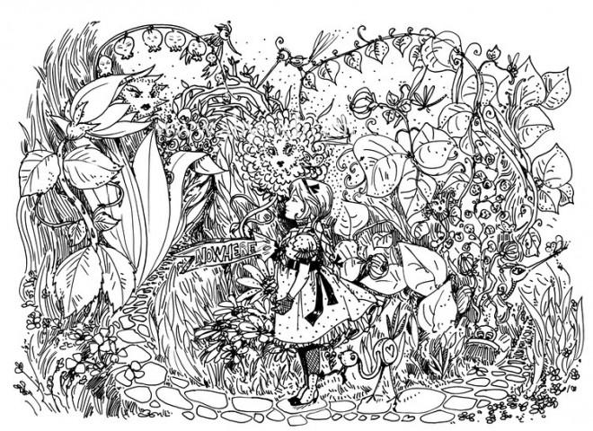 Coloriage et dessins gratuits Alice au pays des merveilles perdue à imprimer
