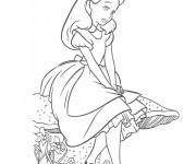 Coloriage Alice au pays des merveilles perdue dans ses pensées