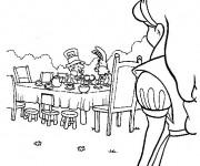 Coloriage Alice au pays des merveilles regarde le Lapin