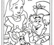 Coloriage Alice avec le lapin et le chapiler Toqué