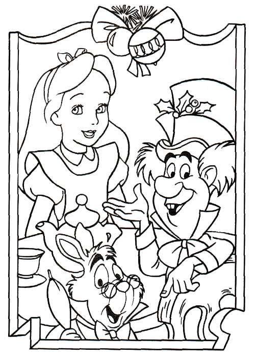 Coloriage et dessins gratuits Alice avec le lapin et le chapiler Toqué à imprimer