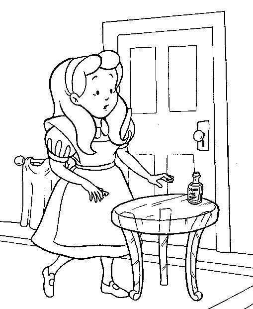 Coloriage et dessins gratuits Alice découvre un flacon magique à imprimer
