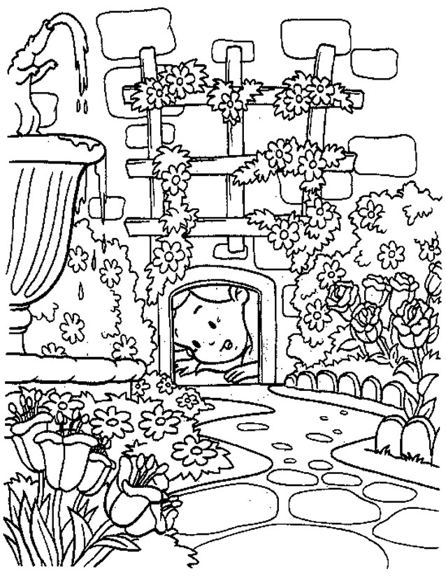 Coloriage et dessins gratuits Alice découvre un trou à imprimer