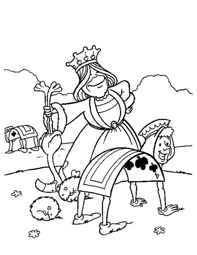 Coloriage et dessins gratuits La reine de coeur dans Alice à imprimer
