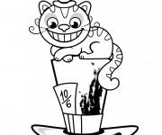 Coloriage Le cat d'Alice au pays des merveilles
