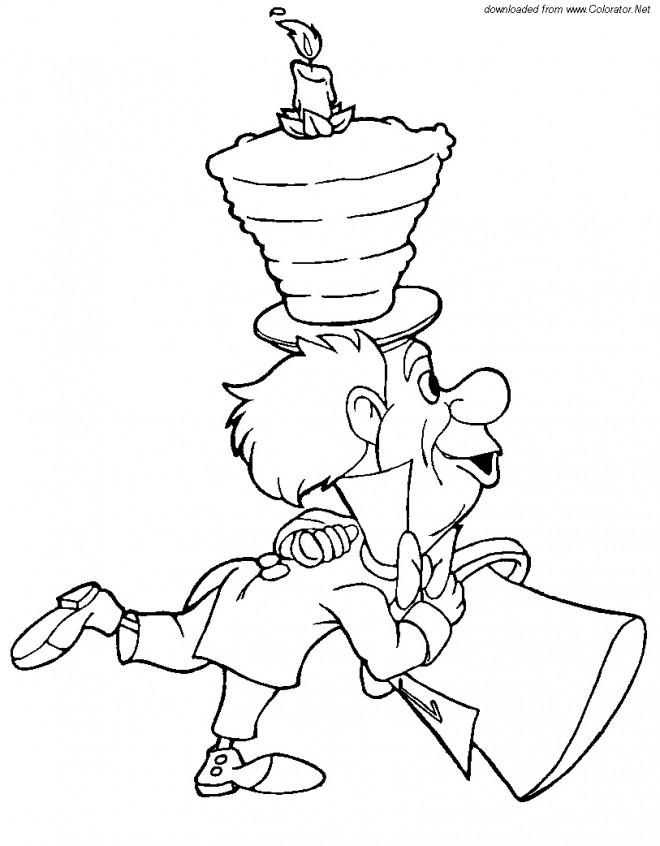 Coloriage et dessins gratuits Le Chapelier Toqué d'Alice à imprimer