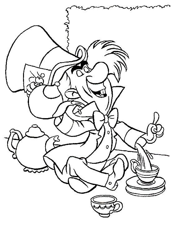 Coloriage et dessins gratuits Le chapelier Toqué verse du thé à imprimer