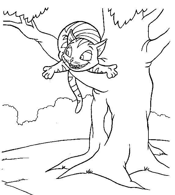Coloriage et dessins gratuits Le chat d'Alice au pays des merveilles à imprimer