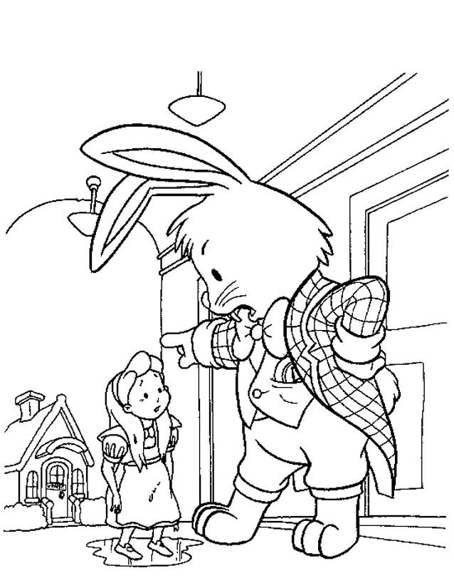 Coloriage et dessins gratuits Le Lapin Blanc gronde Alice à imprimer
