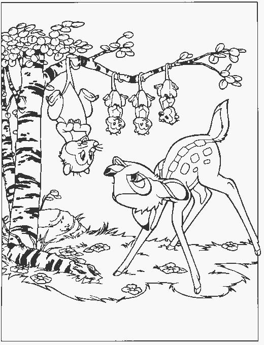 Coloriage et dessins gratuits Bambi discute avec Mme Opossum à imprimer